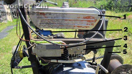 Детали самодельной лебедки для впашки топливный бак,катушка зажигания, блок выпрямитель и рама.