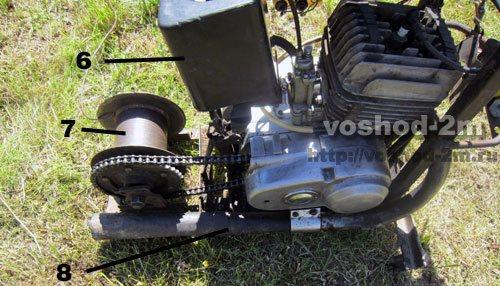 Детали самодельной лебедки для вспашки воздухофильтр, барабан и глушитель.
