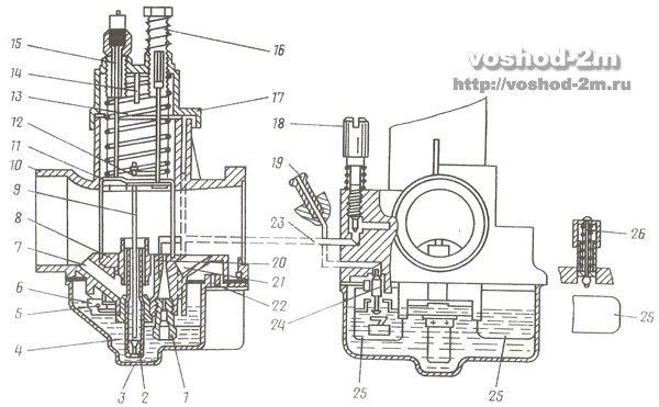 Схема карбюратора К-62В мотоцикла восход